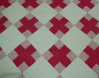 Vintage Quilt:  Nine patch  hand pieced and quilted  from the 1960's