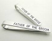 Father of the Bride and Groom Personalized Tie Clips - Hand Stamped Tie Clip - Custom Tie Bar - Men's Wedding Accessories - Wedding Party