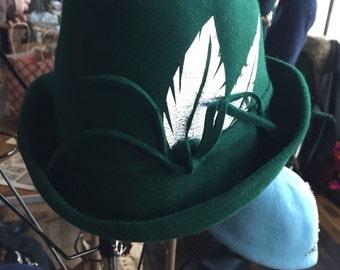 Green Fur Felt Fedora, Millinery, Fall Fashion, Felt Fedora, Vintage Inspired Fedora, Silver Leaf, Felt Hat, Fedora Hat,