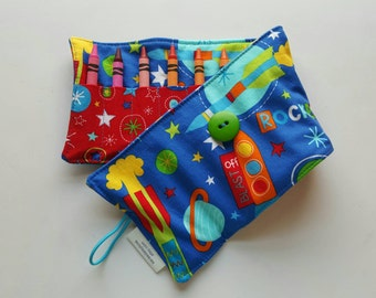 Crayon Roll, Crayon Holder, Rockets and Outer Space, Holds 16 Crayons, Ready to Ship