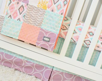 Baby Girl Crib Bedding Set - Peach, Pink and Mint Baby Bedding