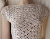 Reserved for Tina Marion Foale style cotton lace knit sleeveless sweater ecru