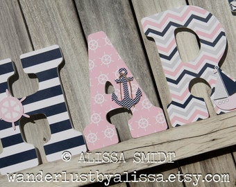 Nautical Nursery Letters, Custom Wooden Letters, Custom Letters, Baby Girl (whale, boat, anchor, pink, grey, gray, navy) 12 Inch Size
