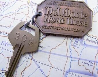 Vintage Del Monte Hyatt House Monterey California Hotel Room Key and Fob #309
