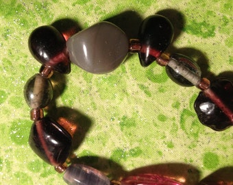 Fun & Funky: Handmade Purple Glass Bead Necklace-- SALE Price