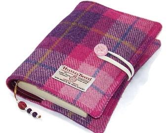 Book Cover Harris Tweed SUNSET PINK, Handmade Bible Cover, UK Seller, Hardback or Paperback