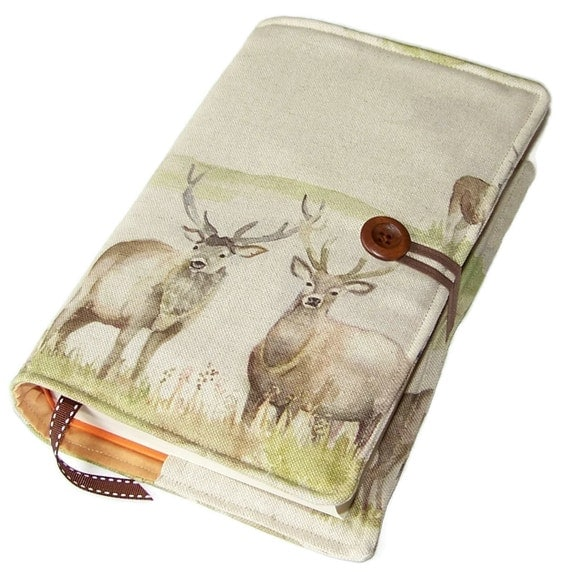 Large Fabric Book Cover : Large bible cover fabric book highland stag suitable