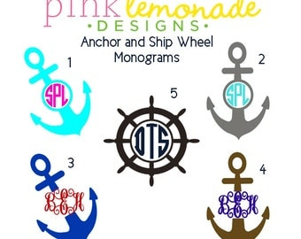 Anchor Monogram Decal, Nautical Monogram Vinyl Decal, Ship Wheel Monogram Vinyl Decal