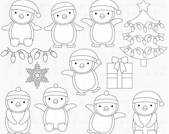penguins stamps digital winter tree snowflake lights christmas - Penguin Pals Digital Stamps