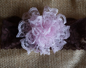 Flower girl headband, Lace Flower Headband, Rustic headband, Newborn photo prop,  Girls headband, Pink headband, chocolate brown headband