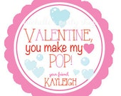 PRINTABLE Valentine, You Make my heart pop Favor Tags