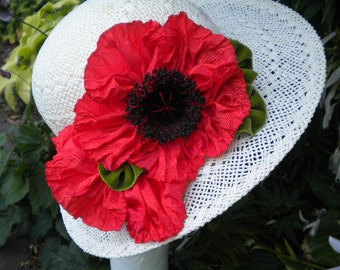 Poppy Ribbon Flower Huge Millinery Applique