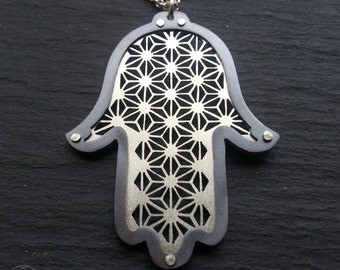 Hamsa Protection Pendant - sterling silver and oxidsed copper - Handcrafted Sacred Geometry Jewellery