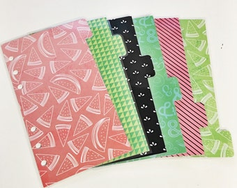 Personal Sized Laminated Dividers For Filofax Kate Spade Agenda Kikki-k Planner Red and Green Watermelon Pink and Black Stripes Ampersand