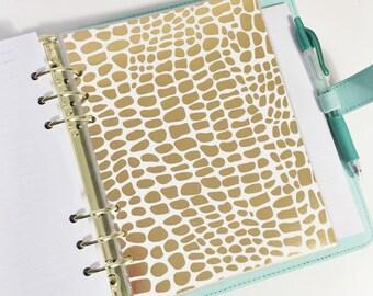 A5 Size Gold Foil Giraffe Print Animal Print Laminated Dashboard Filofax Large Kikki k Planner