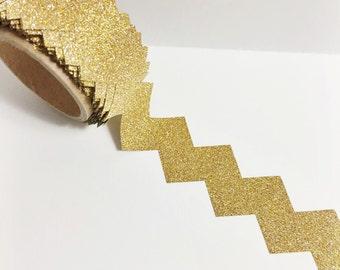Bright Shiny Metallic Gold Glitter Chevron Cut Precut Tape Chevron Shaped Washi Tape 5.5 yards 5 meters 20mm