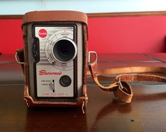 Vintage Kodak Brownie 8mm Movie Camera II with Leather Carry Case Retro Photography Mid Century Cool Man Cave Decor