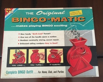 Vintage BINGO-MATIC Game 1960 excellent condition - MidCentury Awesome Summer Game Night Family Fun BINGO