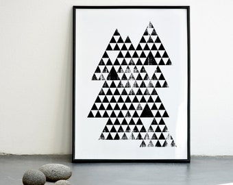 Triangles Print, Abstract Wall Art, Handmade Poster, Geometric Print, Minimal Wall Decor, Triangles Poster, A3 or 11.7 x 15.7 in.