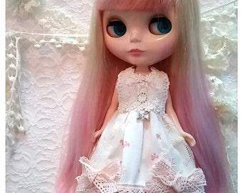 CottonCandyWorkshop Blythe Dress, pink flowery lace Dress