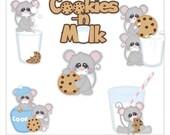 Cookies and Milk Mouse 1 Clipart (Digital Zip Download)
