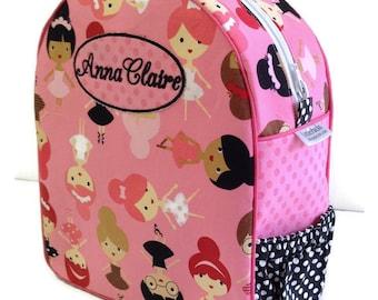 Personalized Toddler Backpack, Ballerina Backpack, Preschool Backpack, Quilted Backpack, Pink Backpack, Book Bag, Tote Bag, Diaper Bag