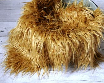 "CLEARANCE- 18""x20"" Caramel Faux Fur, Newborn Photo Prop, Fur rug, Basket Filler, Faux Fur Fabric, Mongolian Fur, Basket Stuffer, Backdrop"