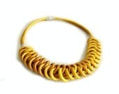 Leather Bib Necklace, Golden Yellow Leather Knot Statement Necklace