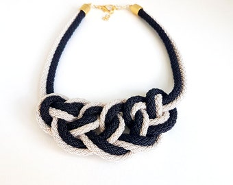 Nautical Rope Statement Necklace, Knotted Bib Necklace, Bib Necklace