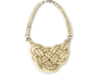 Nautical Bib Necklace, Rope Statement Necklace, Cream Knotted Bib Necklace, Crochet Necklace, Knot Neclace