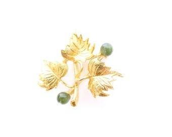 Hobe Gold Leaf Brooch. Green Malachite Stones. Vintage 50s Signed Hobé Leaf Cluster Pin