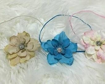 Flower Headband, Newborn Up To Sitters Photography Prop,Tan, Pink or Turquoise Flower Headband with Rhinestone Center, Baby Headband, Girl