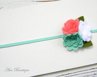 Baby Headband - Felt flower headband - Baby Flower Headband - Coral Felt Flower Headband