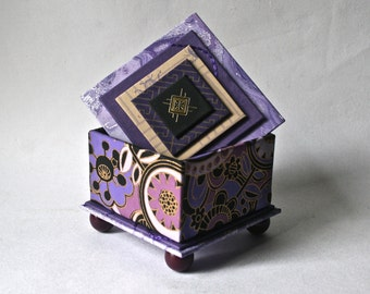 Handmade Box in Shades of Purple for Gift and Decor