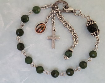 One Decade Rosary Bracelet, Our Lady of Guadalupe, Heart Cross, Green Malaysia Jade, Strong, Stainless Steel, Handcrafted, Gemstone Rosary