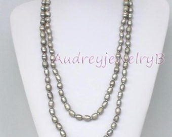 Long pearl necklaces,Freshwater pearl necklaces,Gray freshwater pearlsnecklaces,Pearl jewelry,Wedding necklace pearl,girl friend gift