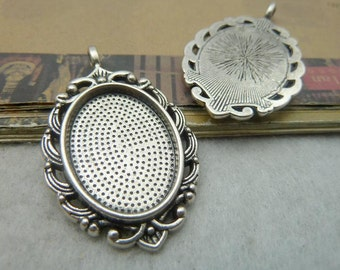 10pcs 27x45mm inner18x25m Antique Silver Oval Cameo Cabochon Base Setting Pendants