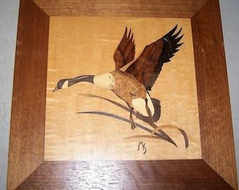 Vintage 1970's Inlaid Wood Bird Art By Manfred Scheel - No. 12 of 100 Made