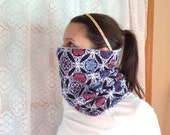 Blue, red, pink flower, Running Scarf, cowl, gator, Ski Mask, snood, tube scarf