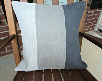 Gray Burlap Pillow Cover Modern Rustic Home Decor Gray Throw Pillows Ombre Pillow Covers Gray Decorative Pillows Cream and Gray Pillow Cover