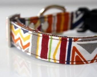 Aztec Dog Collar - pumpkin orange, navy
