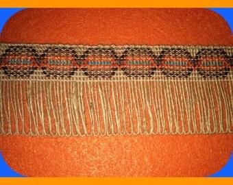 TRIM Natural Jute Burlap Fringed, Southwestern, Woven, Native American, Wide BTY