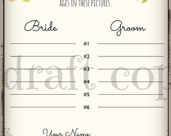 Guess the Bride's Age   Instant Download