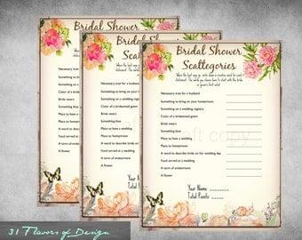 Bridal Shower Scattegories | Instant Download