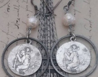 ROSARY vintage assemblage antique religious earrings