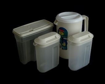 Rubbermaid Pitchers Almond 1 Gallon #2718 Plastic, 1 1/2 qt Small Servin' Saver Pitcher #0923, 13 Cup Cereal Container #0091, 1990s Kitchen
