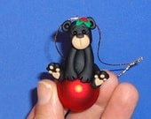 Polymer Clay Black Bear on Red Glass Ball Ornament