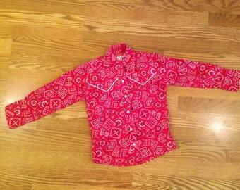 Little boys red bandanna cowboy shirt