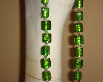Art Deco Necklace Foil Glass Bead Italian Lime Green Venetian Vintage 1930s Jewelry