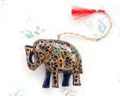 Lacquer Elephant - Boho Home Decor - Small Hanging Ornament -Made in India - Good Luck Health and hapiness